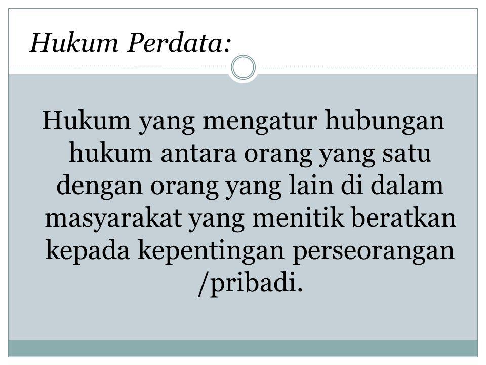 Hukum Perdata : Hukum Perdata tertulis  KUHPdt [BW] Hukum Perdata tidak Tertulis  Hukum Adat Hukum Perdata di Indonesia dibedakan : Hukum Perdata Materiil Hukum Perdata Formil