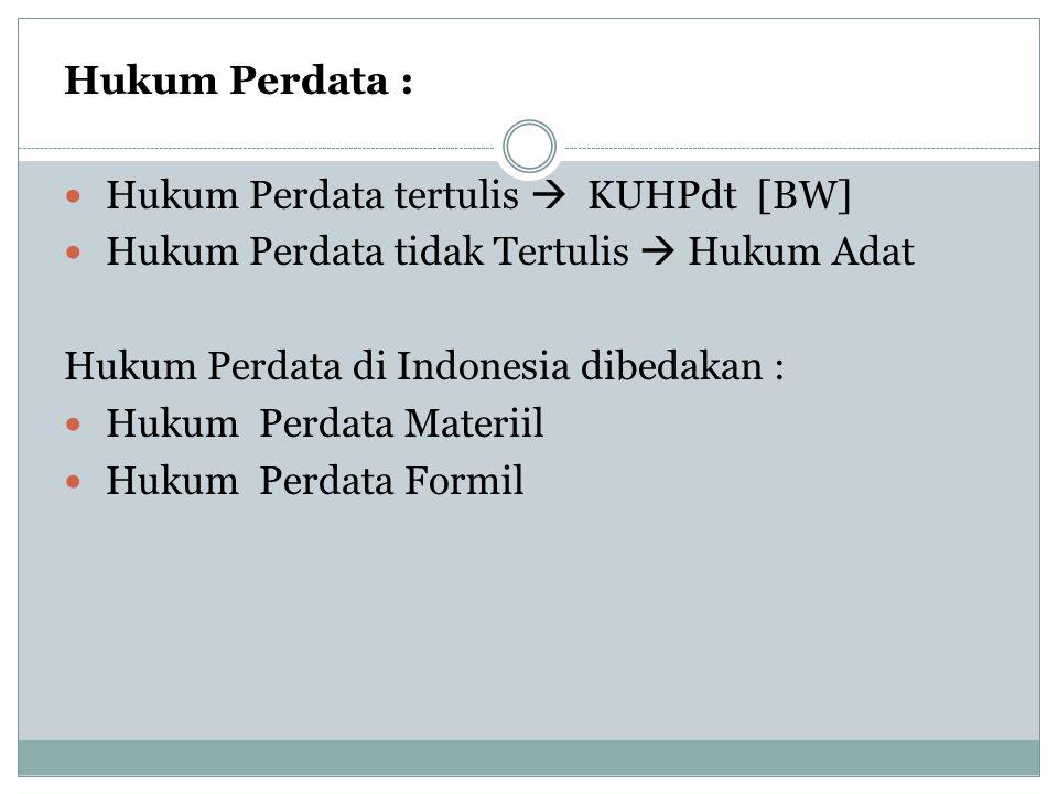 Hukum Perdata : Hukum Perdata tertulis  KUHPdt [BW] Hukum Perdata tidak Tertulis  Hukum Adat Hukum Perdata di Indonesia dibedakan : Hukum Perdata Ma