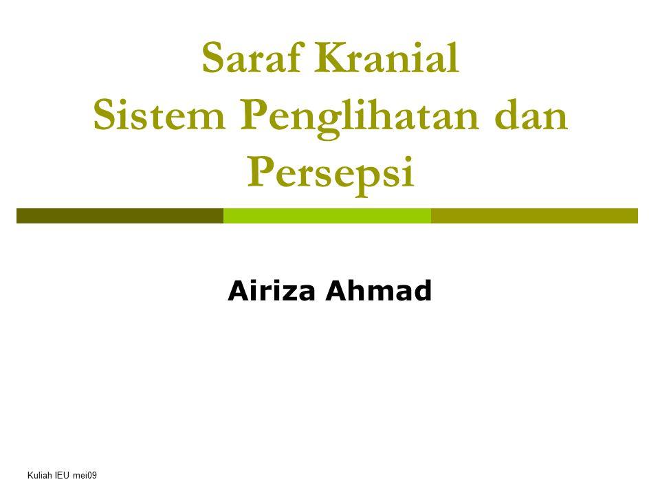 Saraf Kranial Sistem Penglihatan dan Persepsi Airiza Ahmad Kuliah IEU mei09