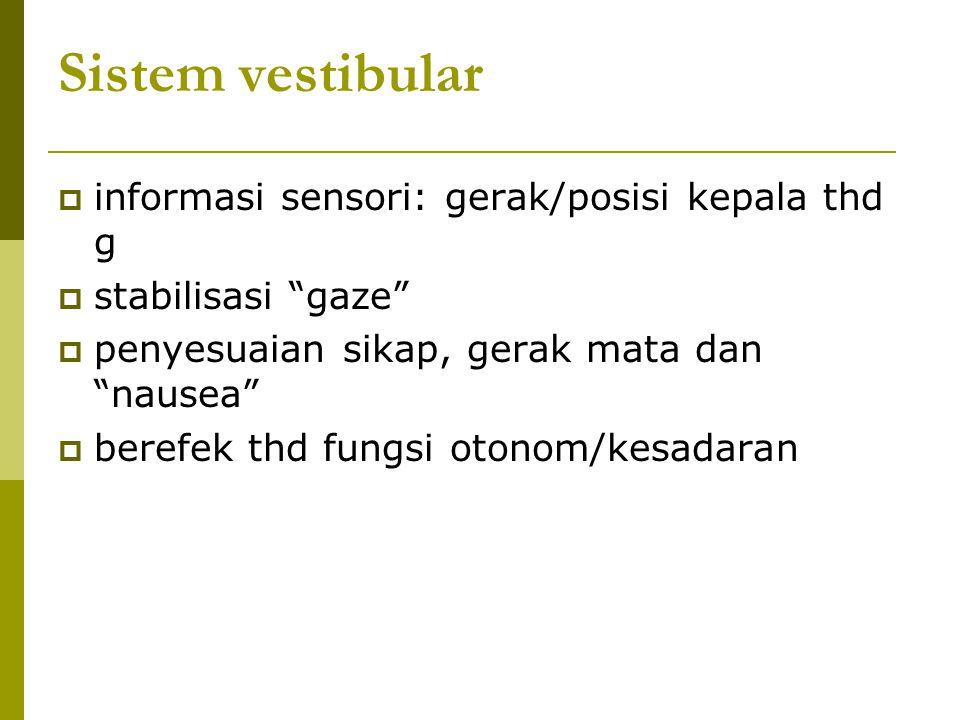 """Sistem vestibular  informasi sensori: gerak/posisi kepala thd g  stabilisasi """"gaze""""  penyesuaian sikap, gerak mata dan """"nausea""""  berefek thd fungs"""