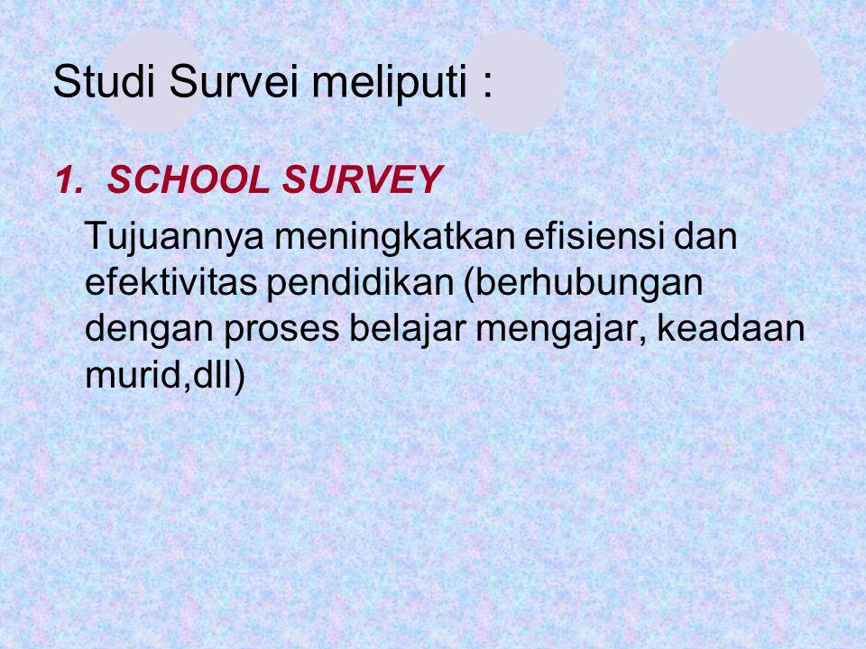 Studi Survei meliputi : 1. SCHOOL SURVEY Tujuannya meningkatkan efisiensi dan efektivitas pendidikan (berhubungan dengan proses belajar mengajar, kead