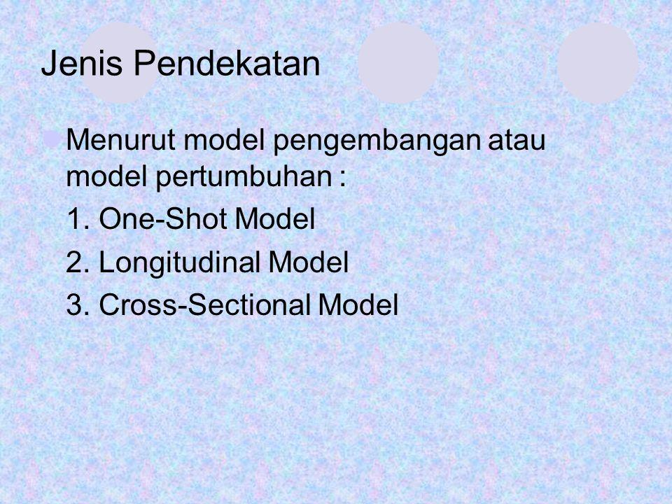Jenis Pendekatan Menurut model pengembangan atau model pertumbuhan : 1. One-Shot Model 2. Longitudinal Model 3. Cross-Sectional Model