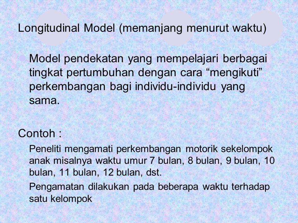 "Longitudinal Model (memanjang menurut waktu) Model pendekatan yang mempelajari berbagai tingkat pertumbuhan dengan cara ""mengikuti"" perkembangan bagi"