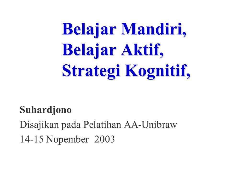 Belajar Mandiri, Belajar Aktif, Strategi Kognitif, Suhardjono Disajikan pada Pelatihan AA-Unibraw 14-15 Nopember 2003