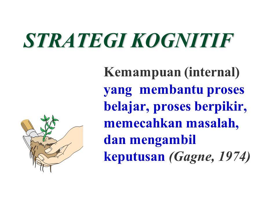 STRATEGI KOGNITIF Kemampuan (internal) yang membantu proses belajar, proses berpikir, memecahkan masalah, dan mengambil keputusan (Gagne, 1974)