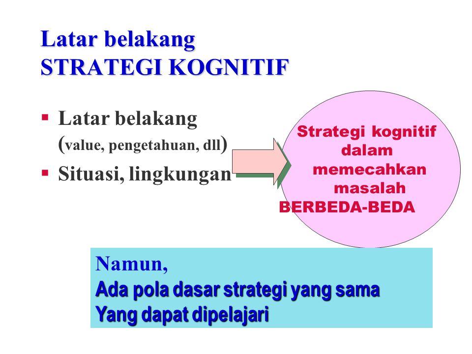 STRATEGI KOGNITIF…. K ecakapan umum: kecakapan belajar, kecakapan berpikir, untuk memecahkan masalah, dan mengambil keputusan (Rigney, 1978)