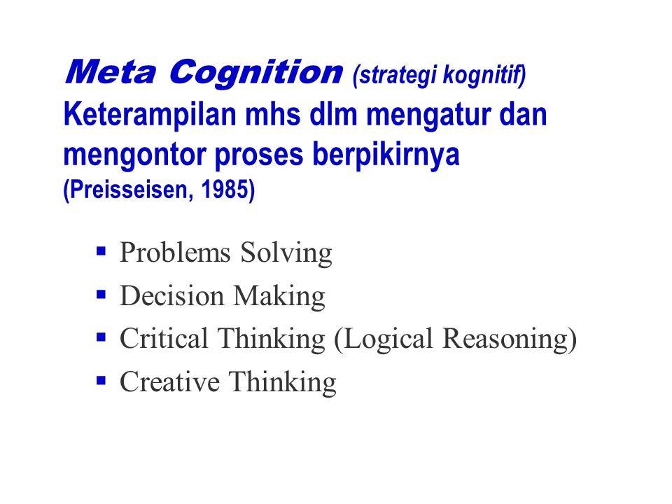 Meta Cognition (strategi kognitif) Keterampilan mhs dlm mengatur dan mengontor proses berpikirnya (Preisseisen, 1985)  Problems Solving  Decision Making  Critical Thinking (Logical Reasoning)  Creative Thinking