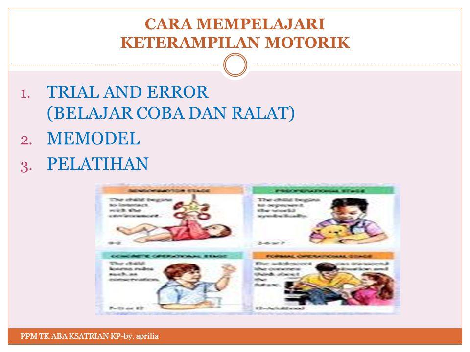 CARA MEMPELAJARI KETERAMPILAN MOTORIK 1.TRIAL AND ERROR (BELAJAR COBA DAN RALAT) 2.