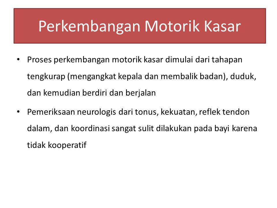 Perkembangan Motorik Kasar Proses perkembangan motorik kasar dimulai dari tahapan tengkurap (mengangkat kepala dan membalik badan), duduk, dan kemudia
