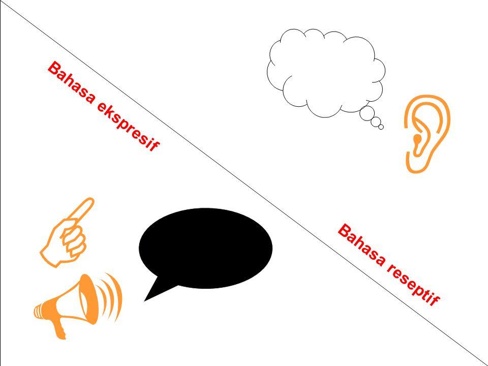   Bahasa ekspresif Bahasa reseptif 