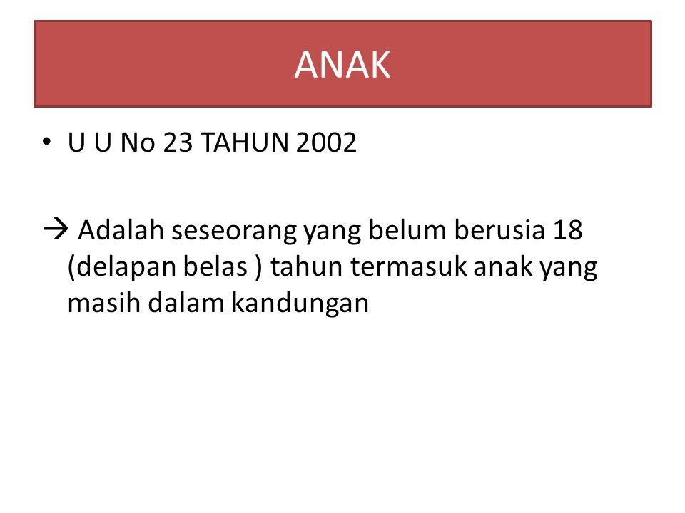 ANAK U U No 23 TAHUN 2002  Adalah seseorang yang belum berusia 18 (delapan belas ) tahun termasuk anak yang masih dalam kandungan