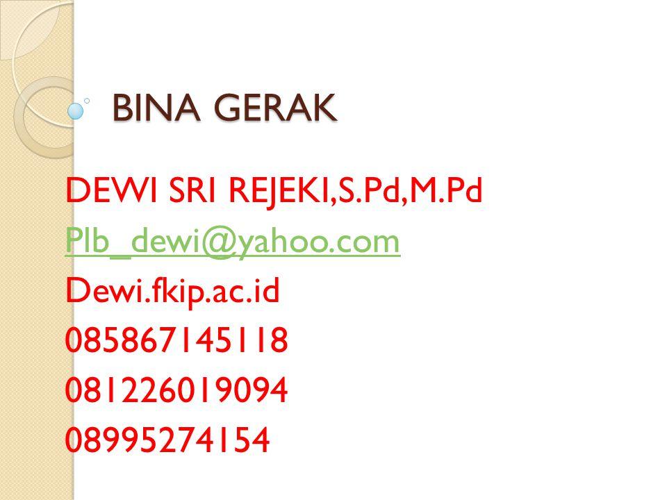 BINA GERAK DEWI SRI REJEKI,S.Pd,M.Pd Plb_dewi@yahoo.com Dewi.fkip.ac.id 085867145118 081226019094 08995274154