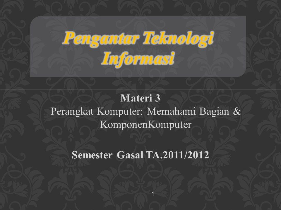 Materi 3 Perangkat Komputer: Memahami Bagian & KomponenKomputer Semester Gasal TA.2011/2012 1