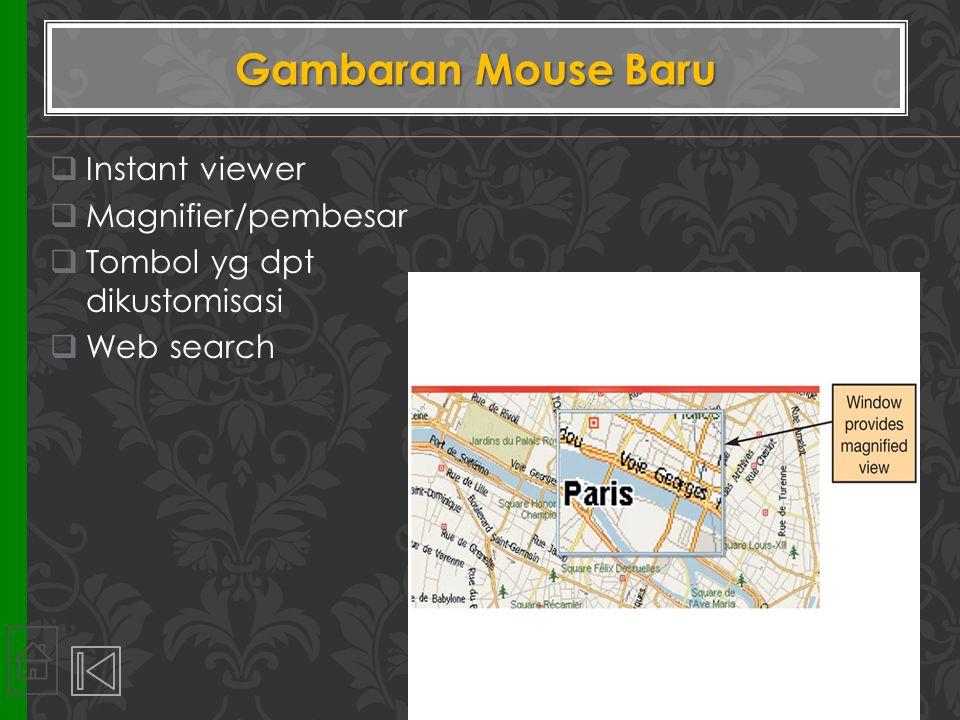  Instant viewer  Magnifier/pembesar  Tombol yg dpt dikustomisasi  Web search Gambaran Mouse Baru 14