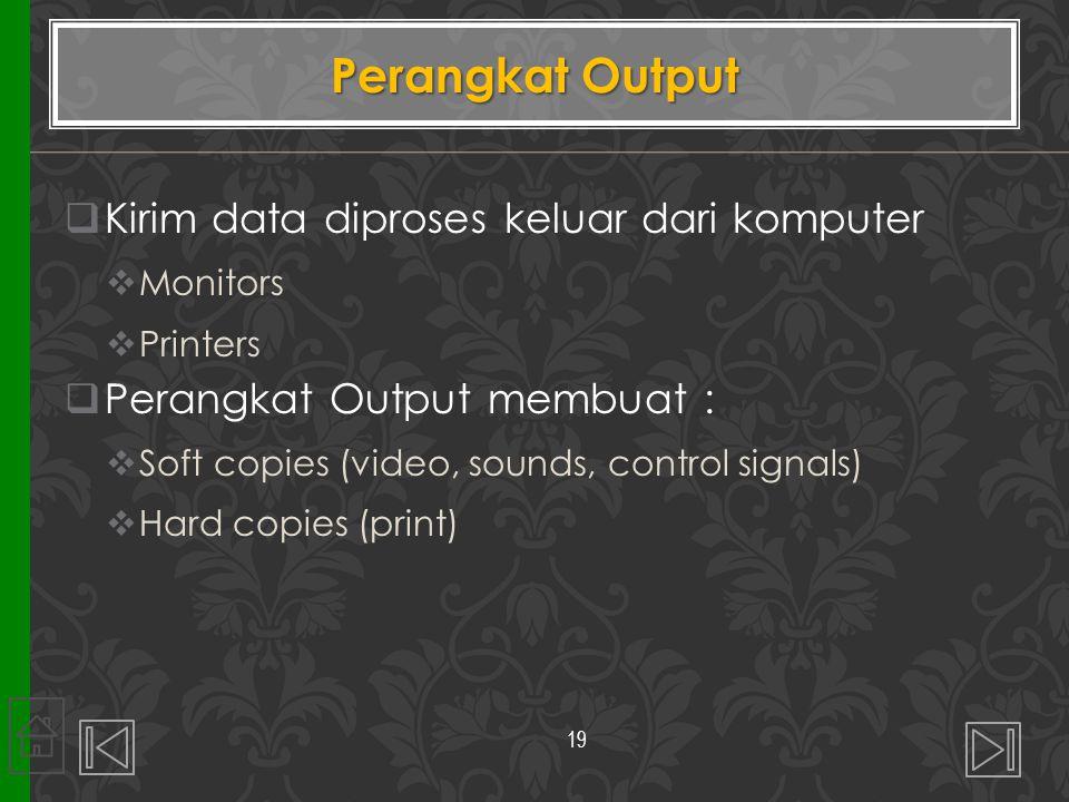 Perangkat Output  Kirim data diproses keluar dari komputer  Monitors  Printers  Perangkat Output membuat :  Soft copies (video, sounds, control s