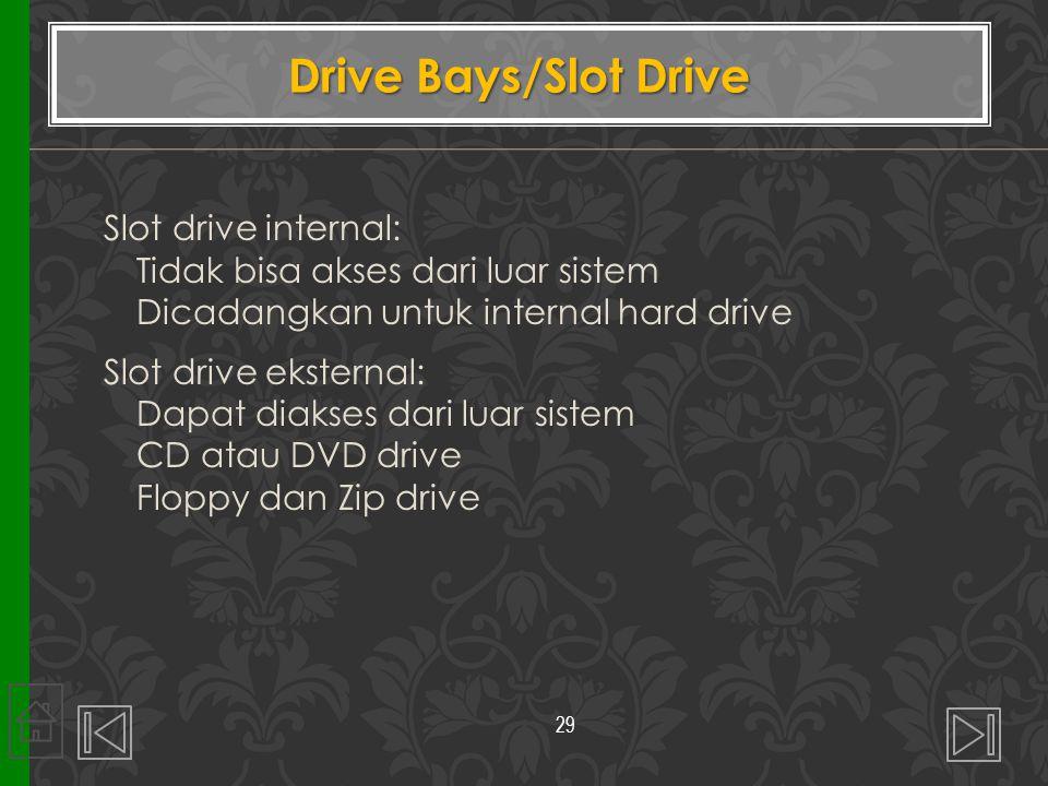 Slot drive internal: Tidak bisa akses dari luar sistem Dicadangkan untuk internal hard drive Slot drive eksternal: Dapat diakses dari luar sistem CD a