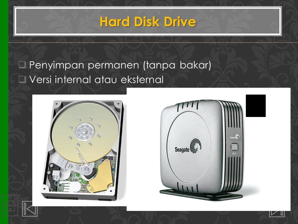  Penyimpan permanen (tanpa bakar)  Versi internal atau eksternal Hard Disk Drive 30