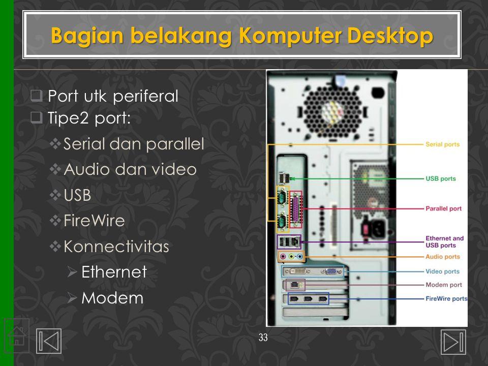 Port utk periferal  Tipe2 port:  Serial dan parallel  Audio dan video  USB  FireWire  Konnectivitas  Ethernet  Modem Bagian belakang Kompute