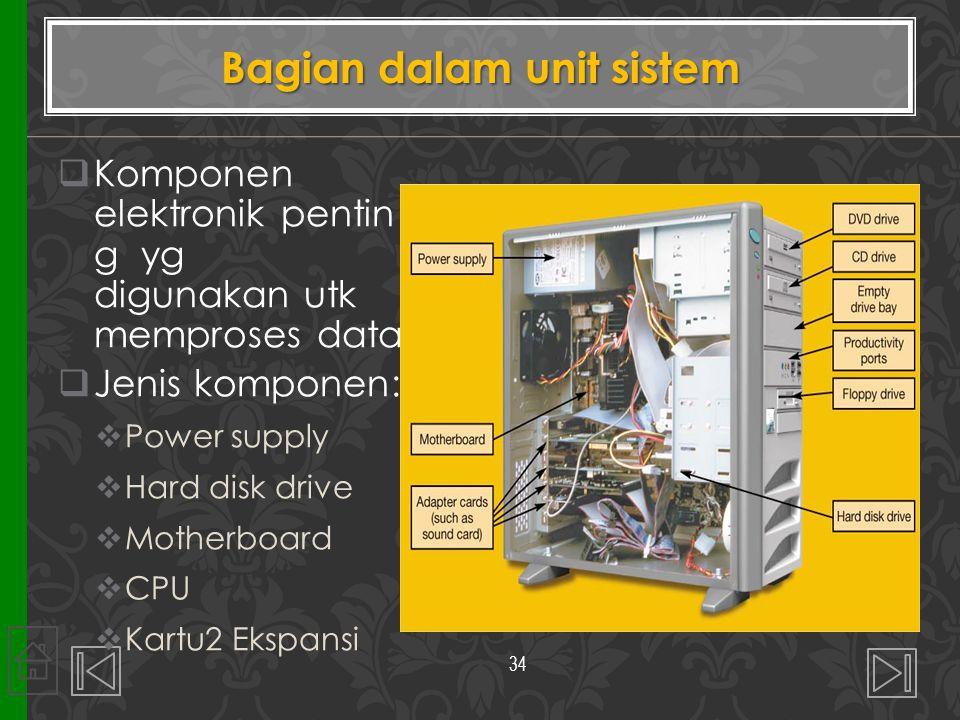 Bagian dalam unit sistem  Komponen elektronik pentin g yg digunakan utk memproses data  Jenis komponen:  Power supply  Hard disk drive  Motherboa