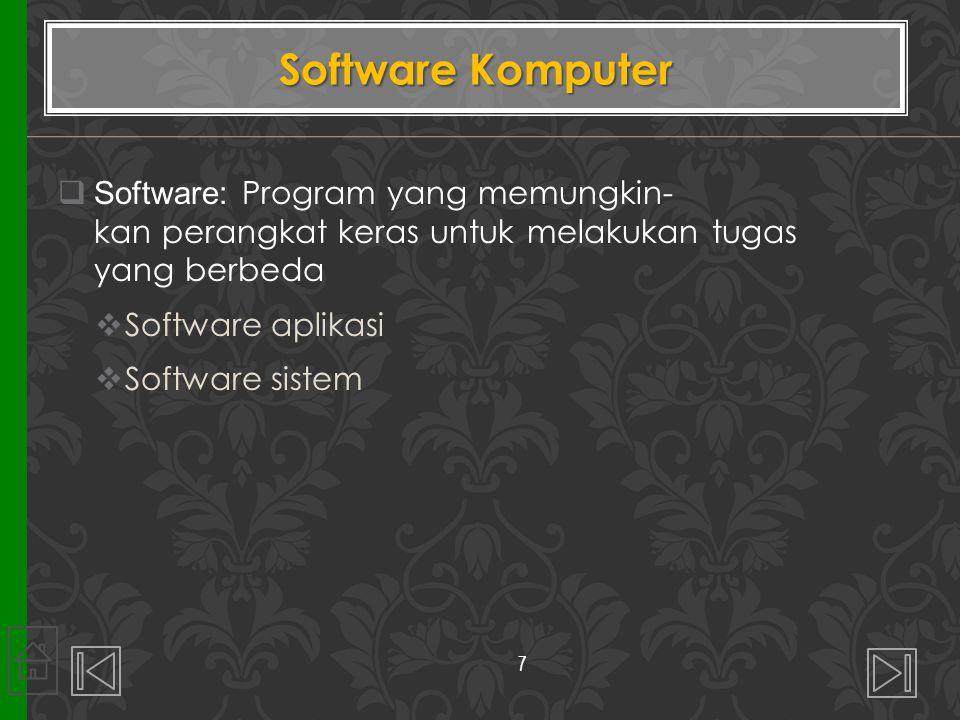  Software: Program yang memungkin- kan perangkat keras untuk melakukan tugas yang berbeda  Software aplikasi  Software sistem Software Komputer 7
