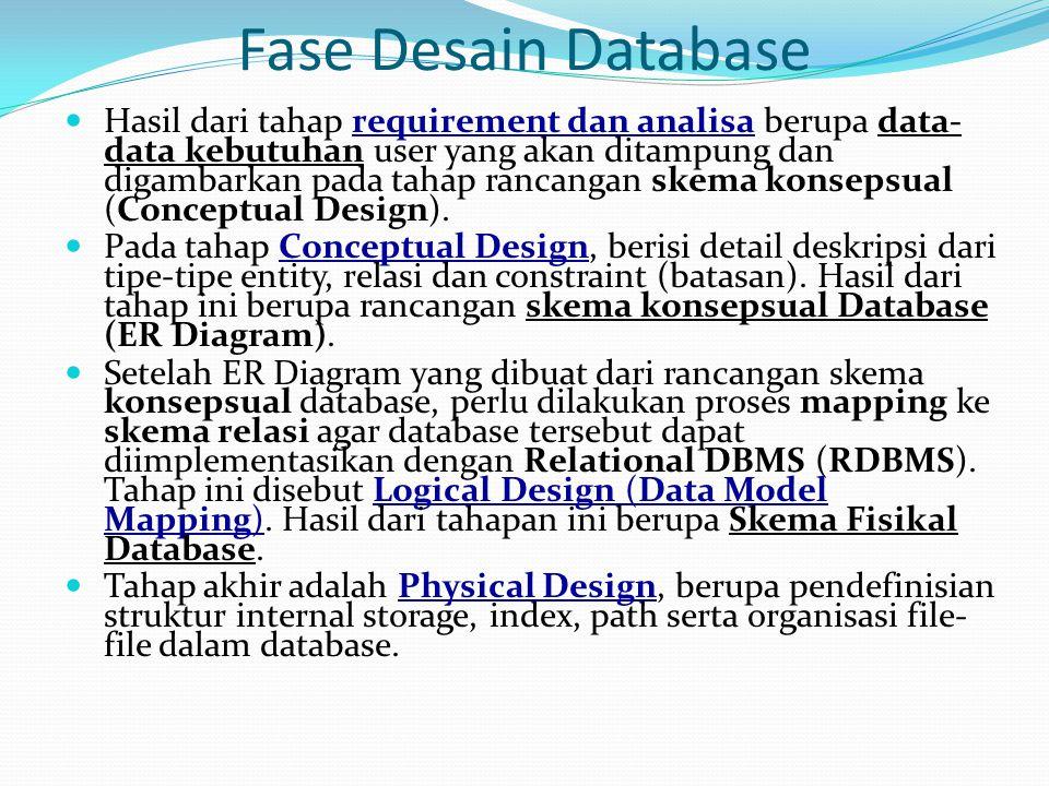 Fase Desain Database Hasil dari tahap requirement dan analisa berupa data- data kebutuhan user yang akan ditampung dan digambarkan pada tahap rancanga