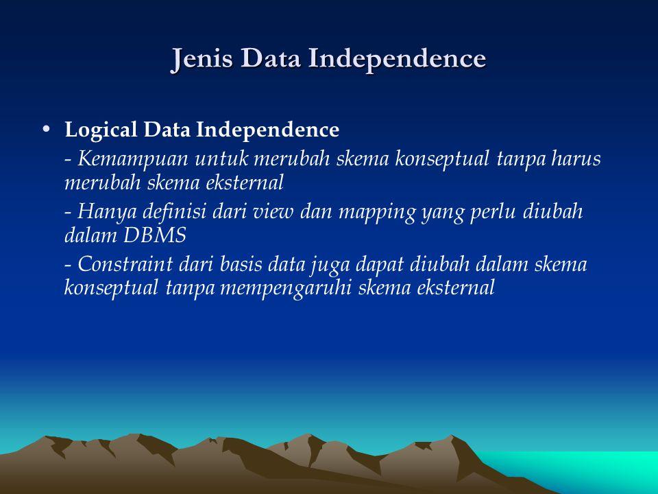 Jenis Data Independence Logical Data Independence - Kemampuan untuk merubah skema konseptual tanpa harus merubah skema eksternal - Hanya definisi dari