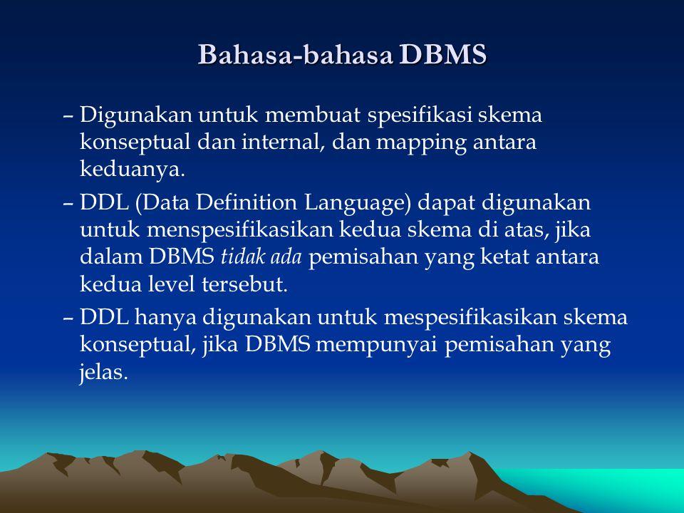 Bahasa-bahasa DBMS –Digunakan untuk membuat spesifikasi skema konseptual dan internal, dan mapping antara keduanya. –DDL (Data Definition Language) da