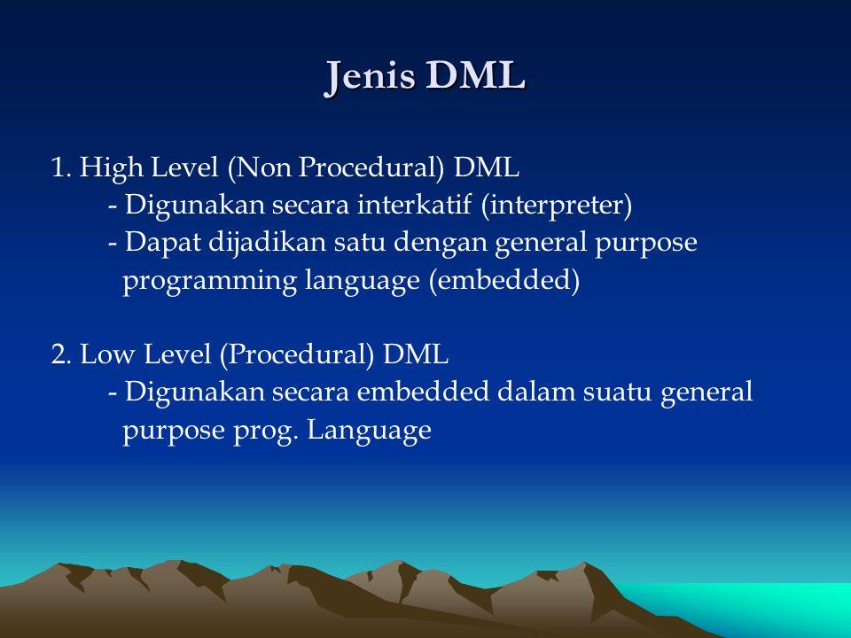Jenis DML 1. High Level (Non Procedural) DML - Digunakan secara interkatif (interpreter) - Dapat dijadikan satu dengan general purpose programming lan