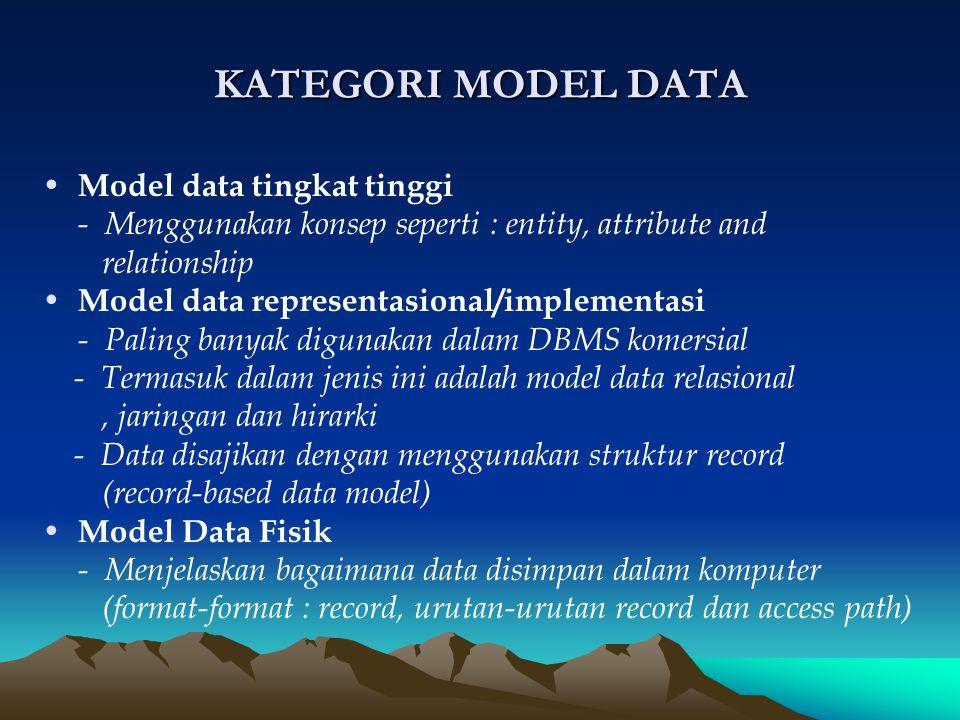 KATEGORI MODEL DATA M odel data tingkat tinggi - Menggunakan konsep seperti : entity, attribute and relationship M odel data representasional/implemen