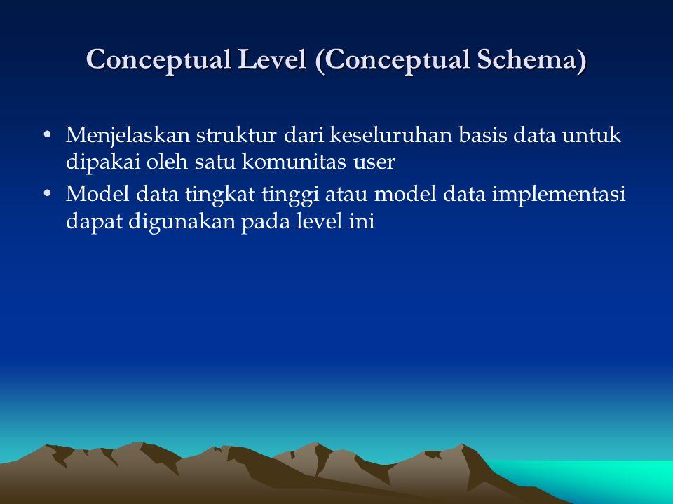 External atau View Level (external schema atau user view) Menjelaskan sebagian basis data yang menjadi interest dari sekelompok user tertentu Model data tingkat tinggi (implementasi) dapat digunakan pada level ini.