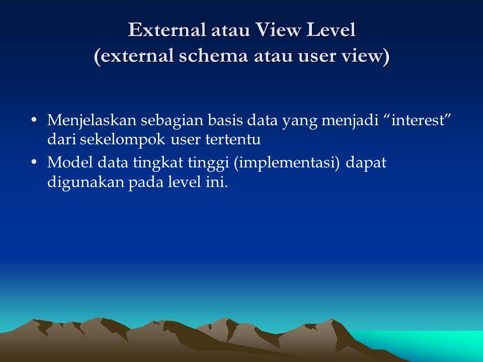 """External atau View Level (external schema atau user view) Menjelaskan sebagian basis data yang menjadi """"interest"""" dari sekelompok user tertentu Model"""