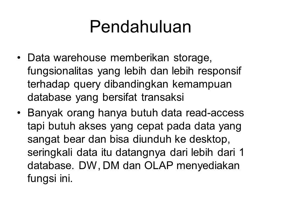 Konsep Data Warehous Subject-oriented, integrated, nonvolatile, time-variant collection of data in support of management's decisions (Inmon, 1992) Dibanding database tradisional, DW umumnya terdiri dari data yang berukuran sangat besar dari banyak sumber dan mungkin terdiri dari database dari model data yang berbeda dan kadang file dari sistem dan platform yang independen