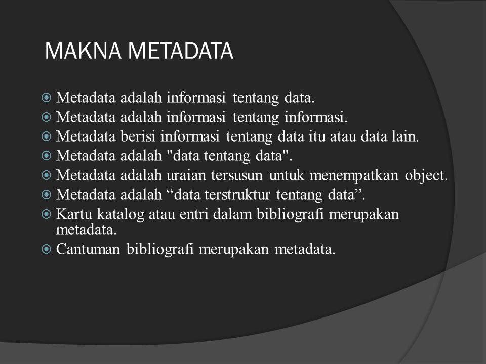 MAKNA METADATA  Metadata adalah informasi tentang data.  Metadata adalah informasi tentang informasi.  Metadata berisi informasi tentang data itu a