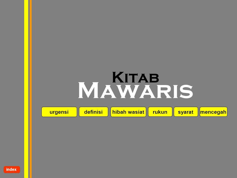 www.kampussyariah.com Kitab Mawaris urgensi definisi hibah wasiat rukun index syaratmencegah