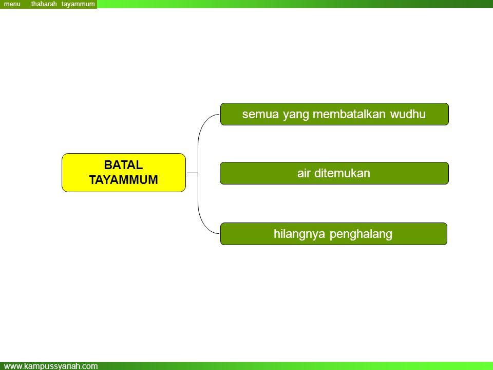 www.kampussyariah.com semua yang membatalkan wudhu air ditemukan hilangnya penghalang BATAL TAYAMMUM menu tayammum thaharah