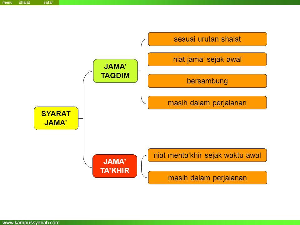www.kampussyariah.com sesuai urutan shalat JAMA' TAQDIM niat jama' sejak awal bersambung masih dalam perjalanan niat menta'khir sejak waktu awal masih dalam perjalanan JAMA' TA'KHIR SYARAT JAMA' menu safar shalat