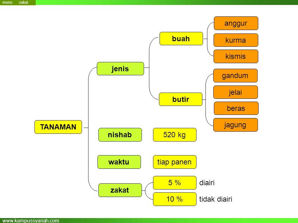 www.kampussyariah.com nishab zakat TANAMAN 520 kg 5 % waktutiap panen 10 % anggur buah kurma kismis gandum jelai butir jenis beras jagung diairi tidak diairi menu zakat
