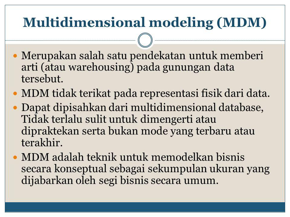 Multidimensional modeling (MDM) Merupakan salah satu pendekatan untuk memberi arti (atau warehousing) pada gunungan data tersebut. MDM tidak terikat p