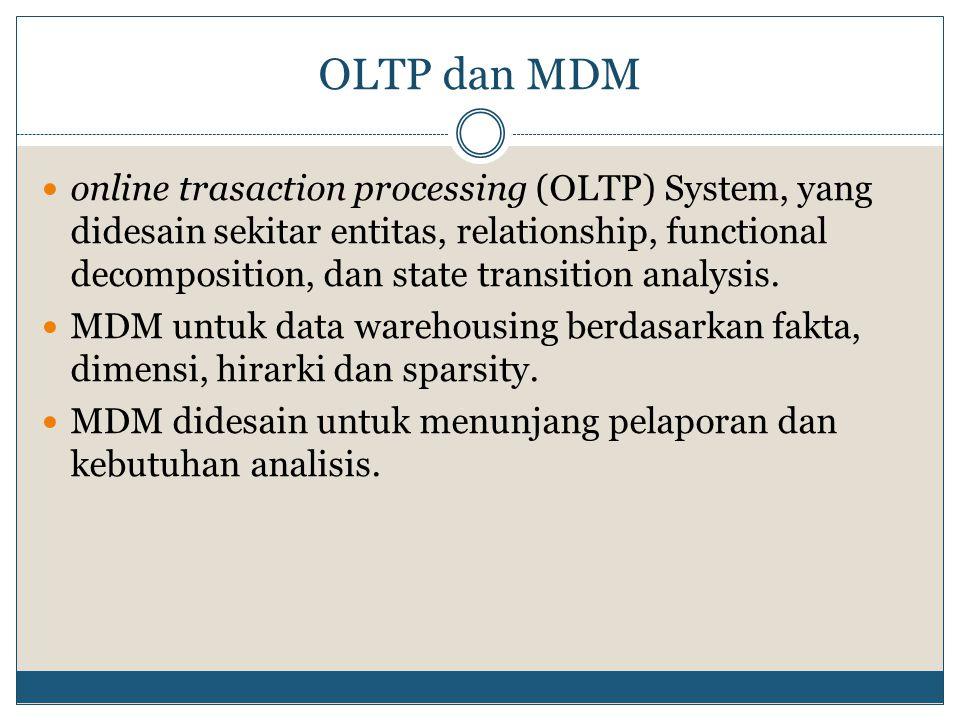 OLTP dan MDM online trasaction processing (OLTP) System, yang didesain sekitar entitas, relationship, functional decomposition, dan state transition analysis.