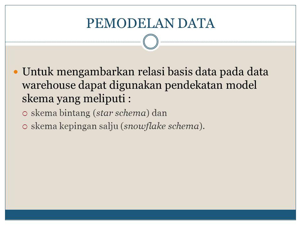 PEMODELAN DATA Untuk mengambarkan relasi basis data pada data warehouse dapat digunakan pendekatan model skema yang meliputi :  skema bintang (star s