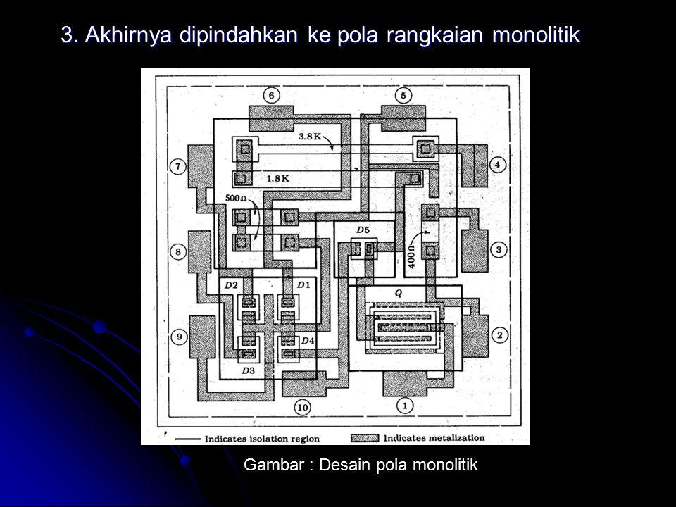 3. Akhirnya dipindahkan ke pola rangkaian monolitik Gambar : Desain pola monolitik