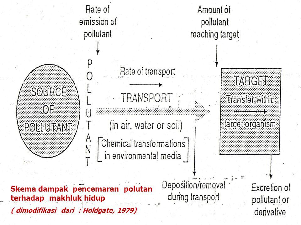 Skema dampak pencemaran polutan terhadap makhluk hidup ( dimodifikasi dari : Holdgate, 1979)