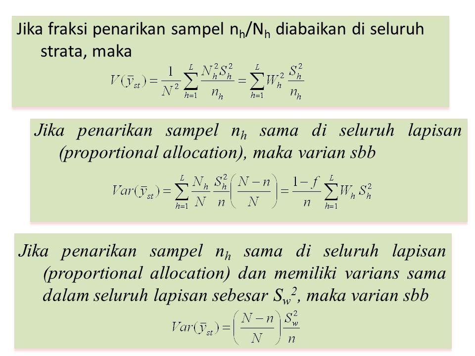 Jika fraksi penarikan sampel n h /N h diabaikan di seluruh strata, maka Jika penarikan sampel n h sama di seluruh lapisan (proportional allocation), m