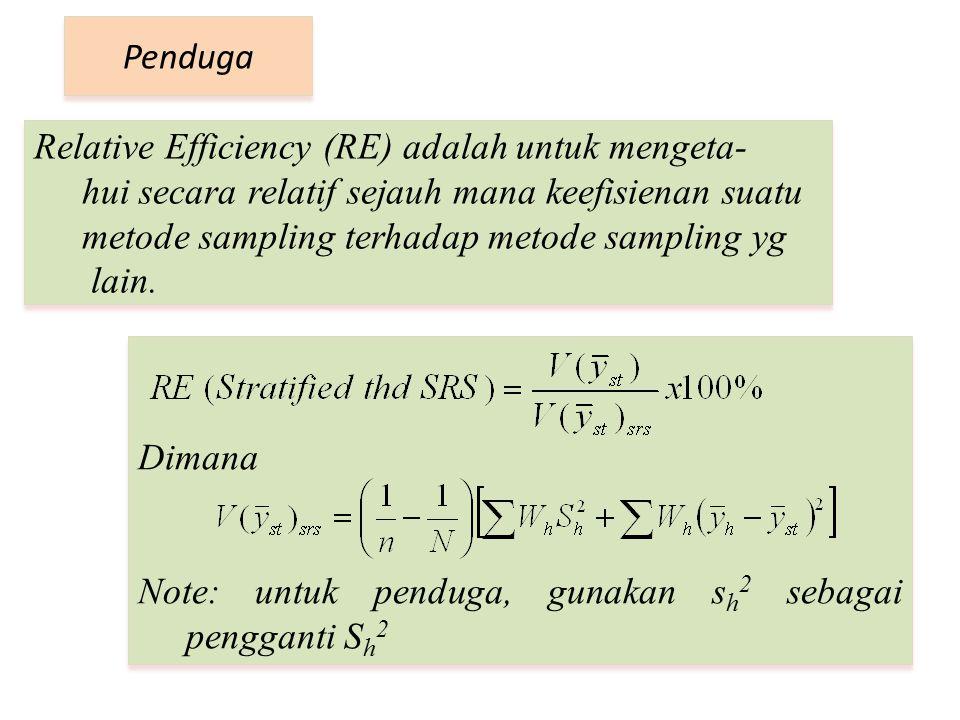 Relative Efficiency (RE) adalah untuk mengeta- hui secara relatif sejauh mana keefisienan suatu metode sampling terhadap metode sampling yg lain. Pend
