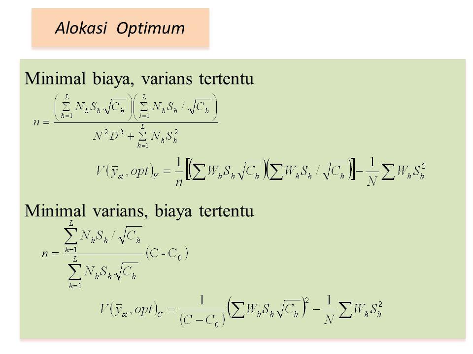 Minimal biaya, varians tertentu Minimal varians, biaya tertentu Alokasi Optimum
