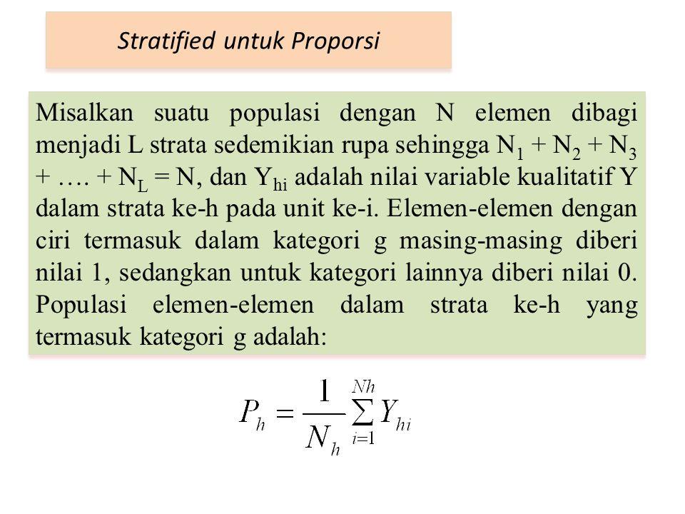 Stratified untuk Proporsi Misalkan suatu populasi dengan N elemen dibagi menjadi L strata sedemikian rupa sehingga N 1 + N 2 + N 3 + …. + N L = N, dan