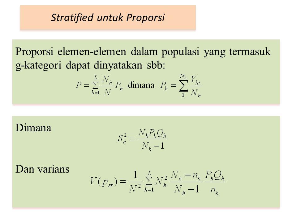 Stratified untuk Proporsi Proporsi elemen-elemen dalam populasi yang termasuk g-kategori dapat dinyatakan sbb: Dimana Dan varians Dimana Dan varians
