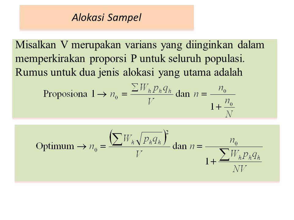 Alokasi Sampel Misalkan V merupakan varians yang diinginkan dalam memperkirakan proporsi P untuk seluruh populasi. Rumus untuk dua jenis alokasi yang