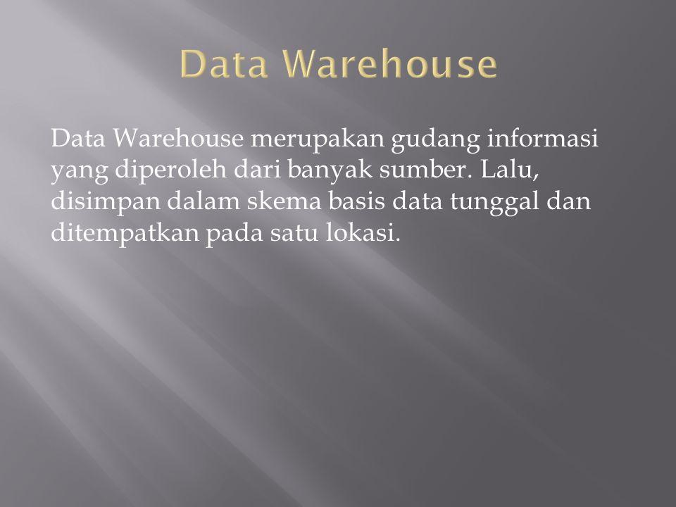 Data Warehouse merupakan gudang informasi yang diperoleh dari banyak sumber.