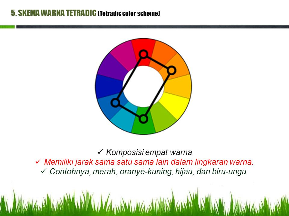 5. SKEMA WARNA TETRADIC (Tetradic color scheme) Komposisi empat warna Memiliki jarak sama satu sama lain dalam lingkaran warna. Contohnya, merah, oran